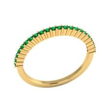 0.25 ct Natural Round Green Emerald Solid Gold Half Eternity Wedding Band Ring