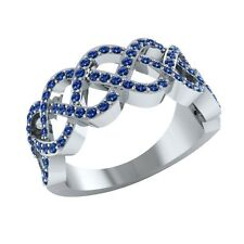 0.50 ct Real Round Blue Sapphire Half Eternity Wedding Band Ring in Solid Gold