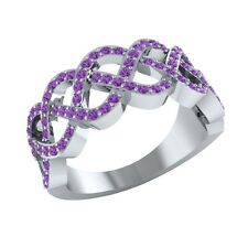 0.50 ct Real Round Purple Amethyst Half Eternity Wedding Band Ring in Solid Gold