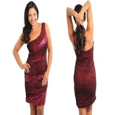 FD1 New Womens Red One Shoulder Work Cocktail Evening Party Wedding Plus Dress