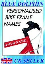 Personalised BIKE FRAME NAME stickers/decals ideal for BMX* MTB*TOWN BIKE*HELMET