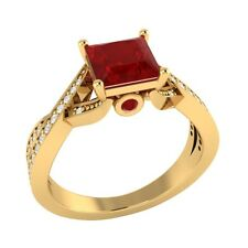 1.50 ct Natural Ruby & Certified Diamond Solid Gold Wedding Engagement Ring