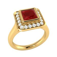 0.65 ct Natural Ruby & Certified Diamond Yellow Gold Wedding Engagement Ring