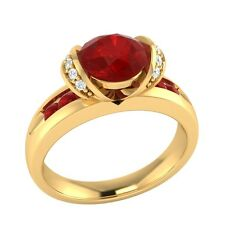 1.10 ct Natural Ruby & Certified Diamond Solid Gold Wedding Engagement Ring