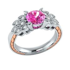 0.85ct Natural Pink Sapphire & Diamond Solid Gold Wedding Engagement Ring