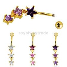 Fashion Belly Star Crystal Dangle Button Bar Navel Ring Body Piercing Jewelry
