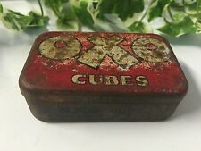 VINTAGE RETRO SMALL RED OXO CUBES ADVERTISING COLLECTABLE FOOD TIN
