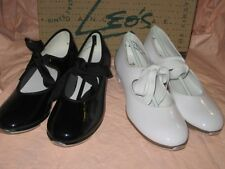 NIB LEOS DANCEWEAR GIRLS PATENT LEATHER STUDENT TAP SHOES 808 BLACK / 807 WHITE