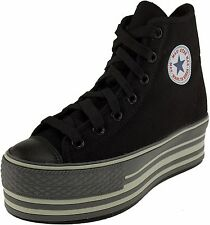 Maxstar Women's C57 7 Holes Zipper Line Platform Canvas High Top Sneakers