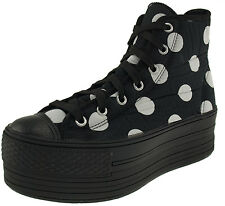 Maxstar Women's C50 7 Holes Zipper Platform Canvas High Top Dot Sneakers