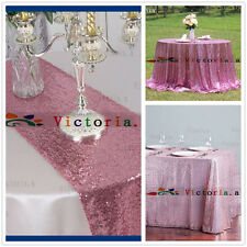 Blush Pink Sequin Table Cloth, Shimmer Sparkly Overlays Tablecloths for Wedding
