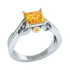 1.50 ct Natural Citrine & Certified Diamond Solid Gold Wedding Engagement Ring