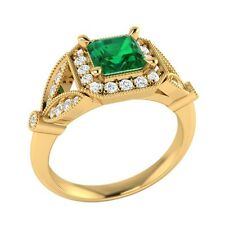 0.95 ct Natural Emerald & Certified Diamond Solid Gold Wedding Engagement Ring