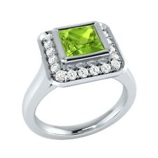 0.65 ct Natural Peridot & Certified Diamond Solid Gold Wedding Engagement Ring