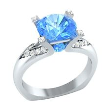 2.25 ct Real Blue Topaz & Certified Diamond Solid Gold Wedding Engagement Ring