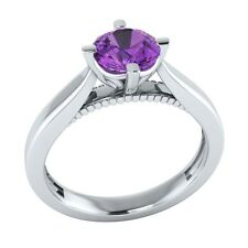 0.60 ct Solitaire Natural Purple Amethyst Solid Gold Wedding Engagement Ring