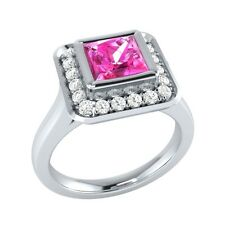 0.65 ct Natural Pink Sapphire & Diamond Solid Gold Wedding Engagement Ring