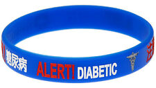 Diabetes Chinese Blue Silicone Wristband Medical Alert ID Bracelet Mediband