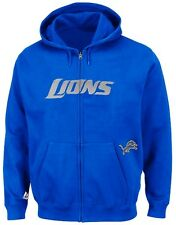 Detroit Lions NFL Mens Full Zip Time Delay Hoodie Blue Big Sizes