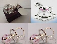 NEW SILVER PLATED PINK CRYSTAL DUMMY/PINK ROCKING HORSE/PINK  RATTLE CHRISTENING