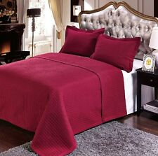 Luxury Burgundy Quilted Wrinkle Free Microfiber Coverlet Set with Shams