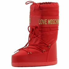 Love Moschino Women's Peace Metallic Logo Red Snow Moon Boots Shoes