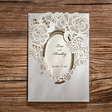 Unique White Wedding Invitations Cards Kit with Envelope Seal Free Personlized
