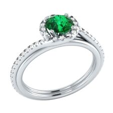 0.75ct Natural Emerald & Certified Diamond Solid Gold Wedding Engagement Ring