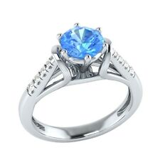 0.70 ct Natural Topaz & Diamond Solid Gold Wedding Engagement Ring