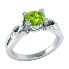 0.75ct Natural Peridot & Certified Diamond Solid Gold Engagement Ring