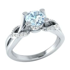 0.75ct Natural Blue Aquamarine & Certified Diamond Solid Gold Engagement Ring