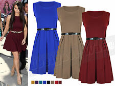 Ladies Womens Frankie Skater Belted Flair Dress Party Pleated 8 10 12 14
