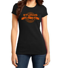 76TH - STURGIS MOTORCYCLE RALLY AND RACES LADIES BLACK AND ORANGE RALLY T-SHIRT