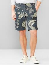 "Men's GAP Lived-in Palm Print Soft Twill Shorts / Inseam: 10""/ BNWT 100% Cotton"
