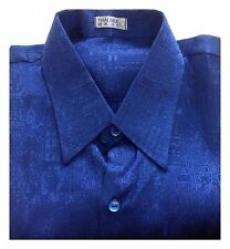 NEW Mens Thai Silk Casual Shirt Luxury Blue Jacquard Weave Short Sleeve M - XXXL