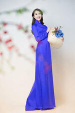 AO DAI Vietnam CUSTOM MADE, THAI TUAN BLUE NAVY SILK Dress, Blue SATIN Pant