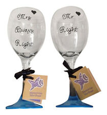 Mr Right & Mrs Always Right matching Wine Glasses Set of 2 funny wedding gift