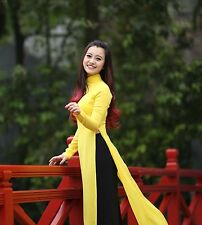 Yellow & Black, Vietnam AO DAI CUSTOM MADE, Chiffon Dress & Satin Pant 30.9