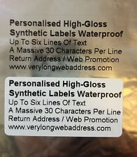 Personalised Synthetic Gloss Labels Waterproof Clear / White   50mm x 25mm