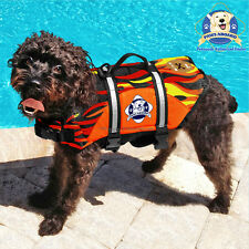 PAWS ABOARD Dog Life Jacket LARGE Swim Vest Racing Flames 50-90 lbs L NEW