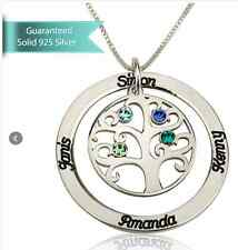 Sterling Silver or GP Family Tree Birthstone Name Necklace