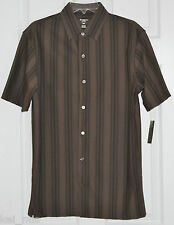 Haggar~Men's Dark Taupe Striped Button Front Shirt~Size S~NWT
