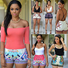 Plus Size Womens Jumpsuit Sleeveless Bodycon Playsuit Shorts Overalls Beachwear