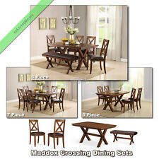 5, 6, 7 Pc Dining Room Sets Maddox Tables Chairs Benches Country Set for 4 and 6