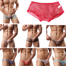 Men Adult Underpants Mesh See Through Boxers Shorts Briefs Underwear Knickers B9