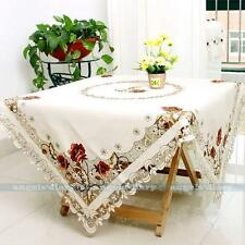 Square Peony Embroider Cutwork Tablecloth Table Topper Cover 4Size Available#229