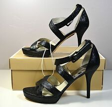 NIB MICHAEL KORS BLACK SPARKLE METALLIC EVIE PLATFORM HEELS SANDALS SHOE SZ 9.5