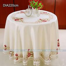Round Floral Embroider Cutwork Tablecloth Dining Table Topper Cover Protector#28