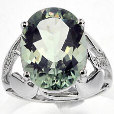 925 Silver 8.20 Ct Natural Green Amethyst Ring