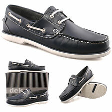 Mens Boys New Navy And White Leather Lace Up Casual Comfort Boat Shoes UK 4 - 12